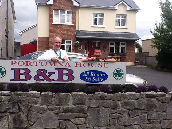 Shane James Whitty & KK Yum Marathon runners at Portumna House Bed & Breakfast
